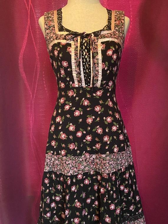 Vintage 70's Gunne Sax Style Baby Pink & Black Ca… - image 3