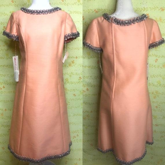 1960 Orange Shift Dress 60s Crystal Peach Party Dr
