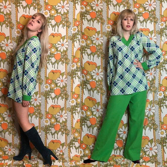 1970's Vintage Green & Blue Check Two-Piece Set