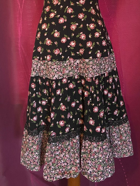 Vintage 70's Gunne Sax Style Baby Pink & Black Ca… - image 4