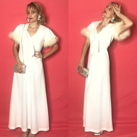 1970 70s White Fur Trim Two Piece Maxi Gown and Ja