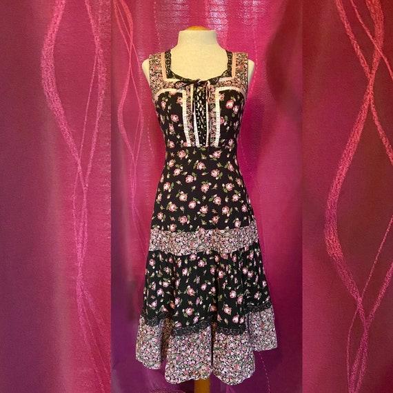 Vintage 70's Gunne Sax Style Baby Pink & Black Ca… - image 1
