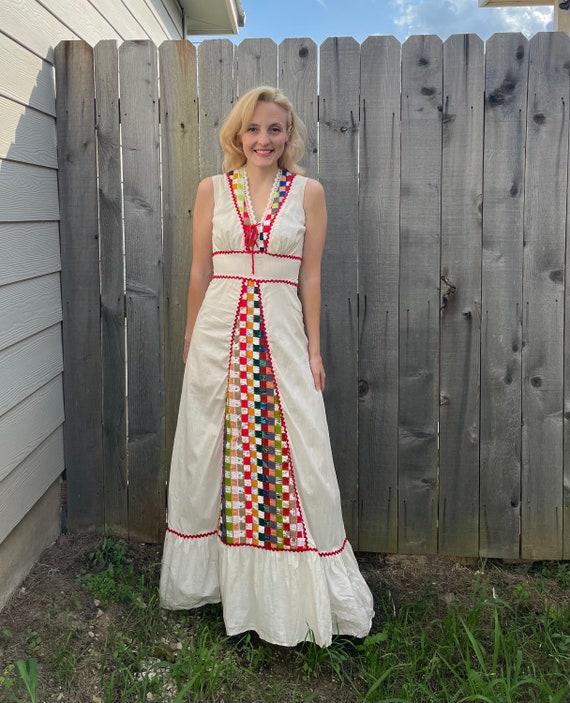 Vintage 70s California Miss Patchwork Quilt Squar… - image 6