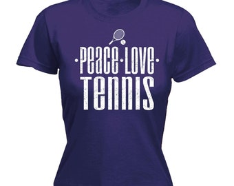 108e94d2a179 Women s Ladies 123t Peace Love Tennis funny tee Joke Match Final Humour Bat  Ball Fitted T-Shirt Novelty Birthday Gift Present Christmas