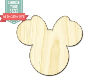 Mouse Head Wood Cut Out Minnie