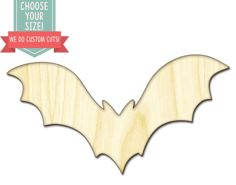 Bat Animal Wood Cut Out Halloween Custom Choose Your Size Laser Cut Wooden Art Craft Supplies Wall Hanging Decor Wedding Nursery Dcs0244