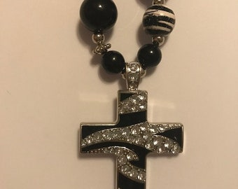 Hand-made Black & White Necklace with Cross Pendant