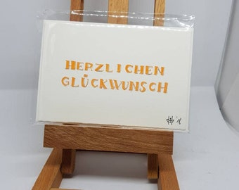 """Birthday Card Letter """"cordial Glpckwunsch"""" with envelope"""