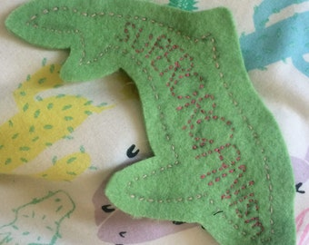 Handmade Superorganism Whale Green and Pink patch