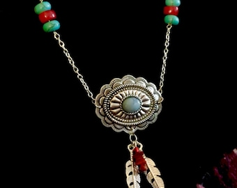 Southwestern Turquoise and Red Concho Necklace