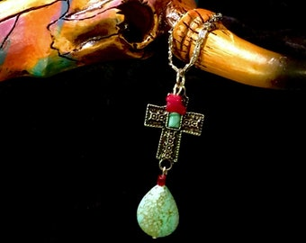 Southwestern Turquoise Cross Necklace