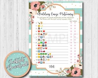 Wedding Emoji Pictionary Mint Bridal Shower Game, Instant Download, Emoji Pictionary Game Printable, Game Download, Bridal Shower Activities