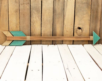 Turquoise Wooden Arrow Wall Decor Rustic