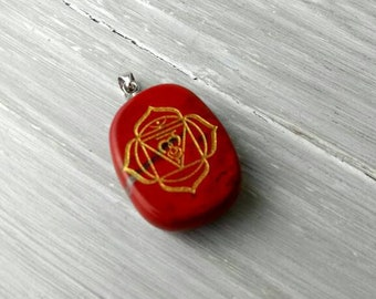 Red Chakra Charm Bronze Charm Chakra Charm Root Chakra Charm PB0167