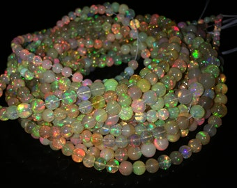 Jewelry & Watches Fine Jewelry 237.00 Cts Natural Round Shape Pink Australian Opal Beads Single Strand Necklace For Sale