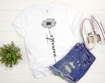 953193fa Namaste T-Shirt - Namaste Shirt - Namaste Apparel - Meditation Shirt - Namaste  Shirt for Women - Namaste Flower Shirt - Yoga Shirt - Yoga Na