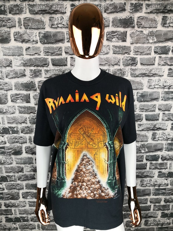 RUNNING WILD 1993 Vintage T-Shirt Pile of Skulls T