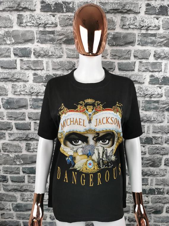 MICHAEL JACKSON 90s Vintage T-Shirt Dangerous / Ki