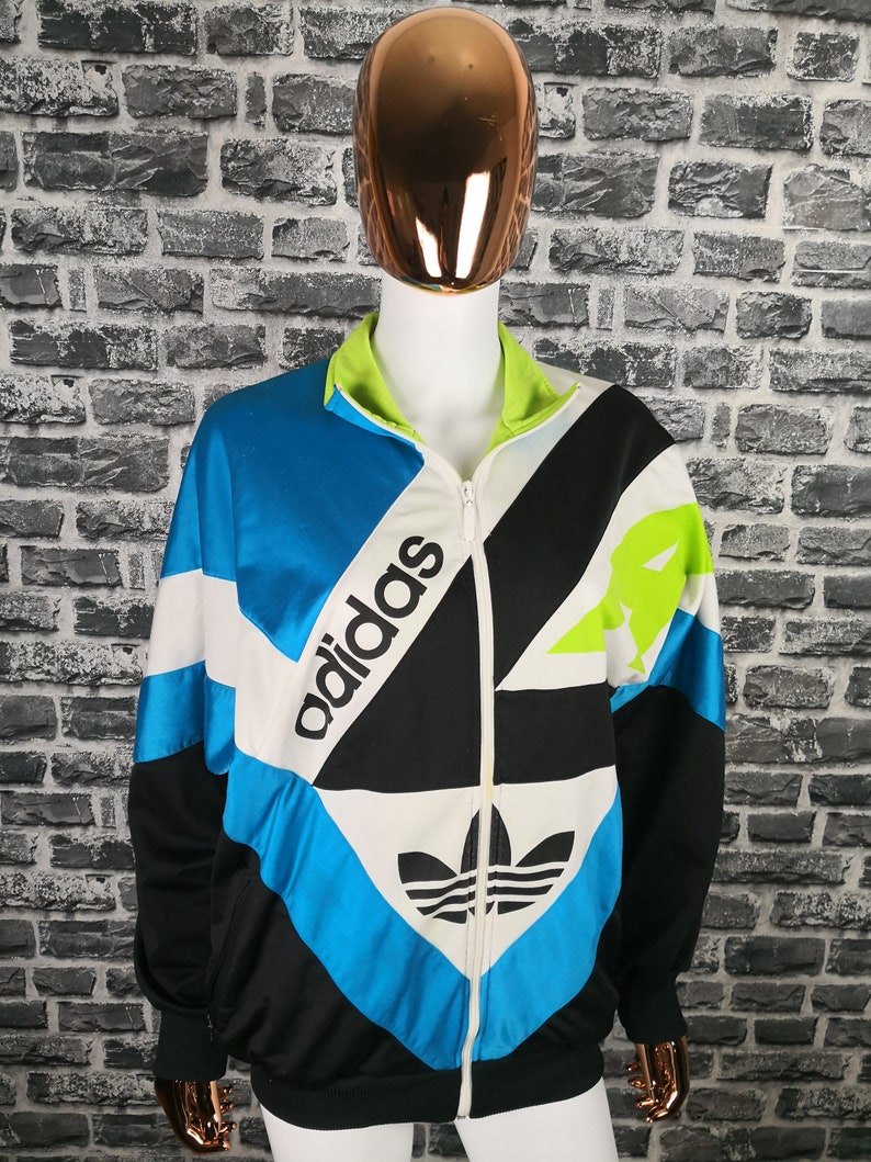 799cf653fa9d0 ADIDAS Vintage Jacket 90s unisex Multicolor Big Logo Track Jacket Rare  Sportswear Trainer Windbreaker Sweater