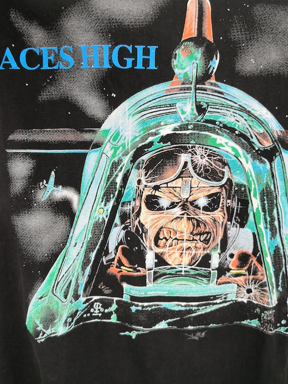 IRON MAIDEN 1984 Vintage T-Shirt Aces High Classi… - image 3