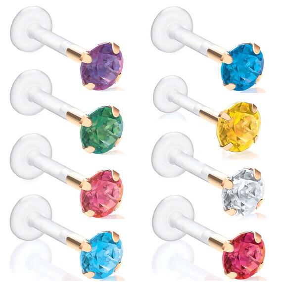 4mm Round Swarovski Gemstone Bioflex Piercing Stud For Multiple Piercings Tragus Ear Lip Labret Studs Sold As A Pair