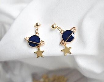 Blue Star&Celestial Series Blue Earth Star Stud Earrings Delicate Earrings