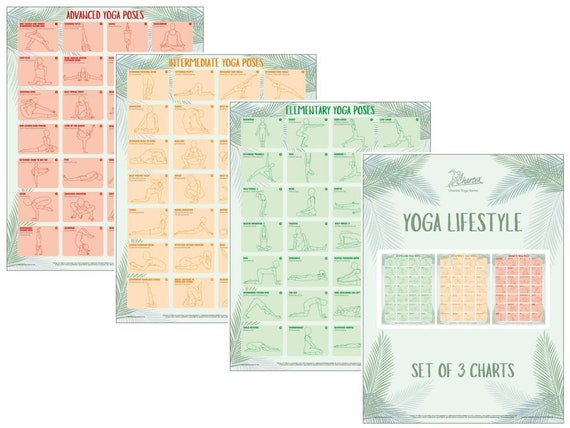 3 Pack Pilates Exercises Poster Set Yoga Poses Volume 1 /& 2 Set of 3 Workout Charts