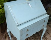 Small ladies writing desk bureau in duck egg blue, two drawers