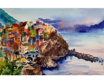 Cinque terre original watercolor, Manarola painting, Liguria watercolor, Porto Fino Italy, Italian landscape, boats and seascape, sunset