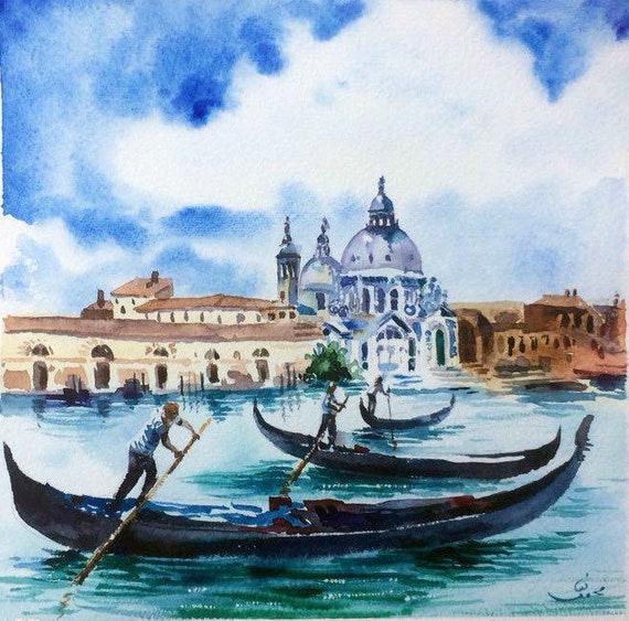 Venice Original Watercolor ITALY  Grande Canal VENICE Venice Wall Art Venetian Wall Art Venice Gift Art Italy Gondola Italy Wall Art
