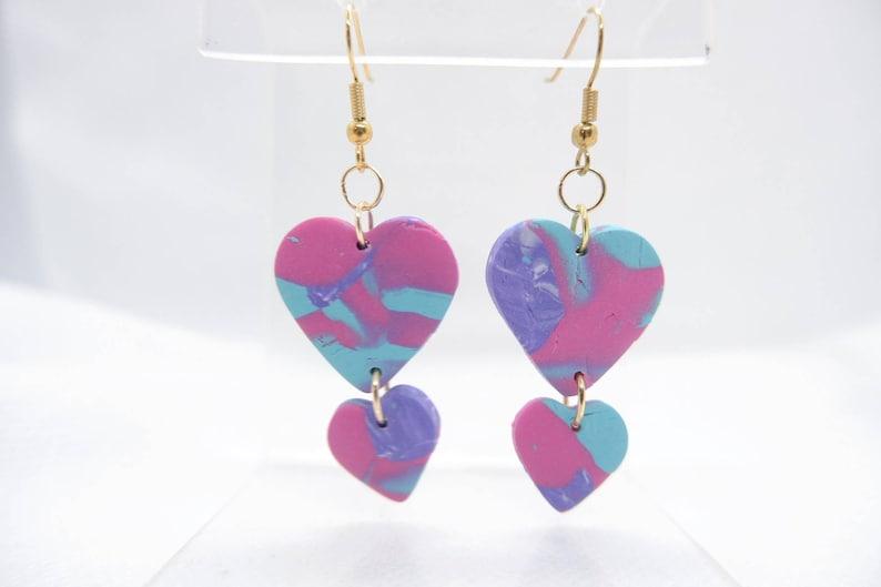 Pink  Purple  Blue Marbled Heart Earrings