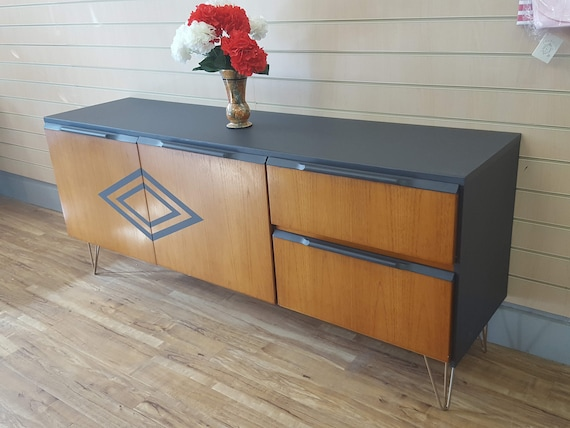 Sold G Plan Vintage Retro Sideboard Tv Unit Cabinet Mid Century Modern Upcycled Grey Geometric Sold