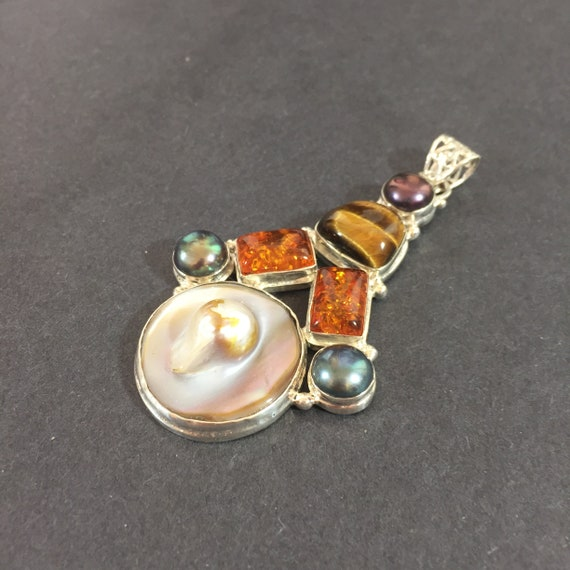 Tiger eye cabochon pendant Sterling silver Artist made Oversized chunky necklace with citrine cabochons