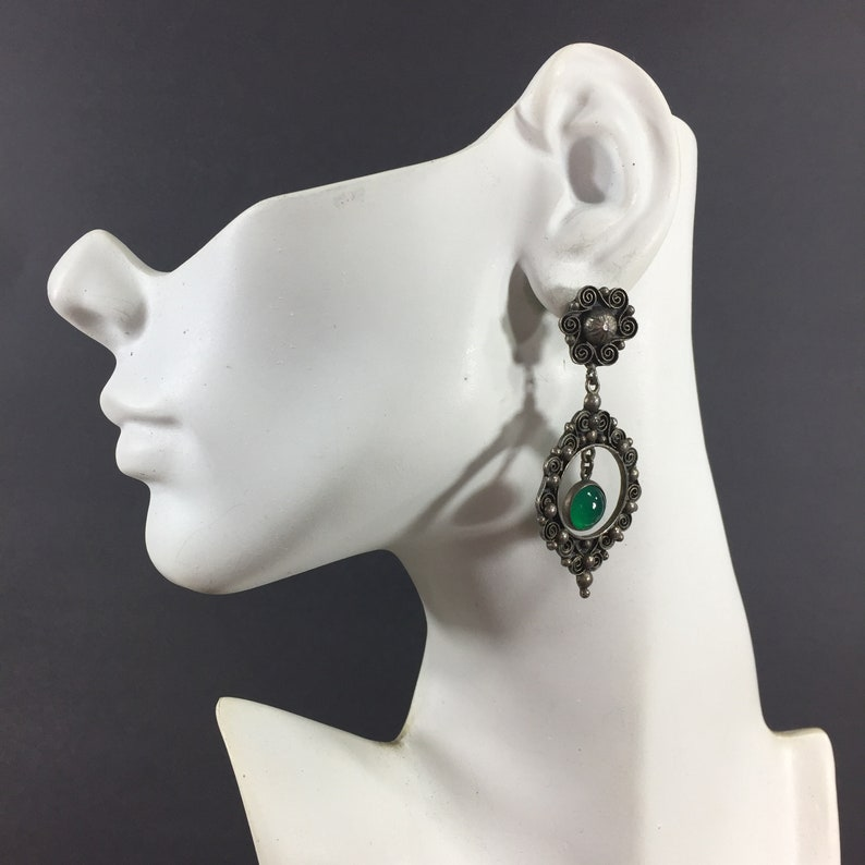Silver tone Victorian dangle earrings with green glass cabochons Lightweight antique silver dangles Statement jewelry Anniversary For her