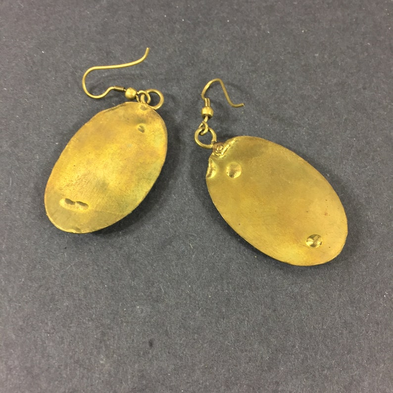 Hand made brass dangle earrings Chunky artist made dangles Statement jewelry Special occasions Anniversary