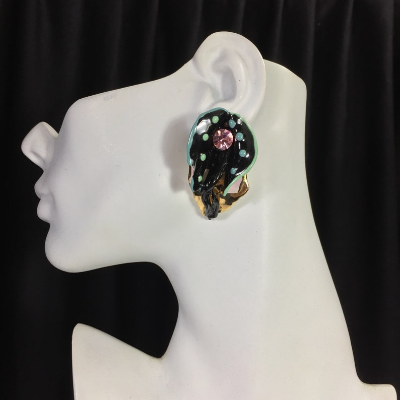 Oversized Amy Lacombe 1988 gold ceramic abstract earrings 24 carat gold plated Hand made rhinestone studs Pink black green Special occasions