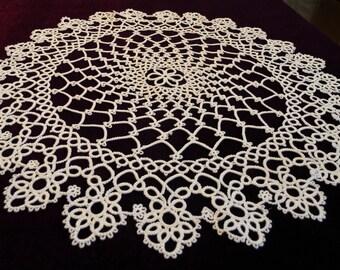 "Tatting doily ""Sun flower"" - lace doily - anniversary - home decor -a lucky gift- wedding -handmade -  FREE shipping."