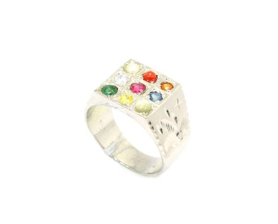 Rajasthan Gems Handmade Men/'s Ring 925 Sterling Silver Natural Sunstone Semi Precious Gemstone