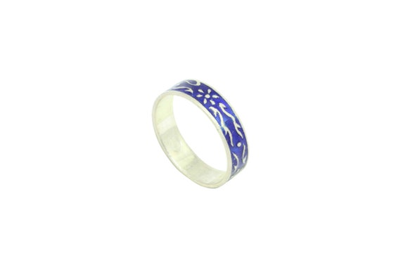 Rajasthan Gems Sterling silver 925 Women/'s band ring Marcasite blue turquoise stone size 6