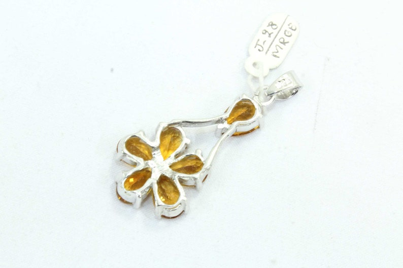 Rajasthan Gems Handcrafted Pendant Sterling Silver Natural Golden Topaz stone 1.8 inch