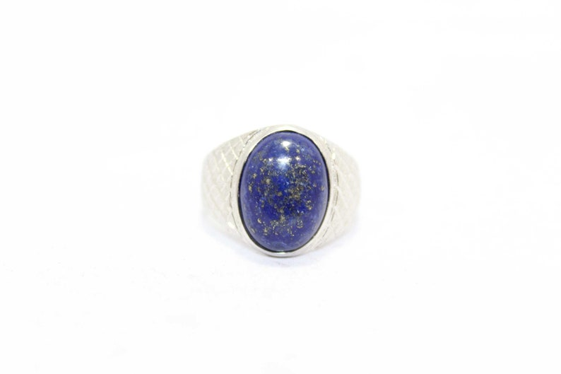 Rajasthan Gems Handmade Men/'s Ring 925 Sterling Silver Semi Precious Blue Lapis Lazuli Stone A