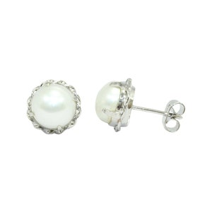 Stunning sterling silver Cultured pearls earrings with clear stones Lucoral 925 boxed