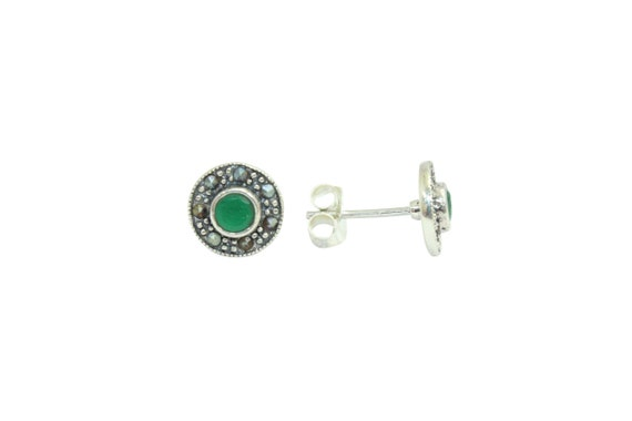 Rajasthan Gems Handmade Dangle Earrings Women 925 Sterling Silver Marcasite Stones P