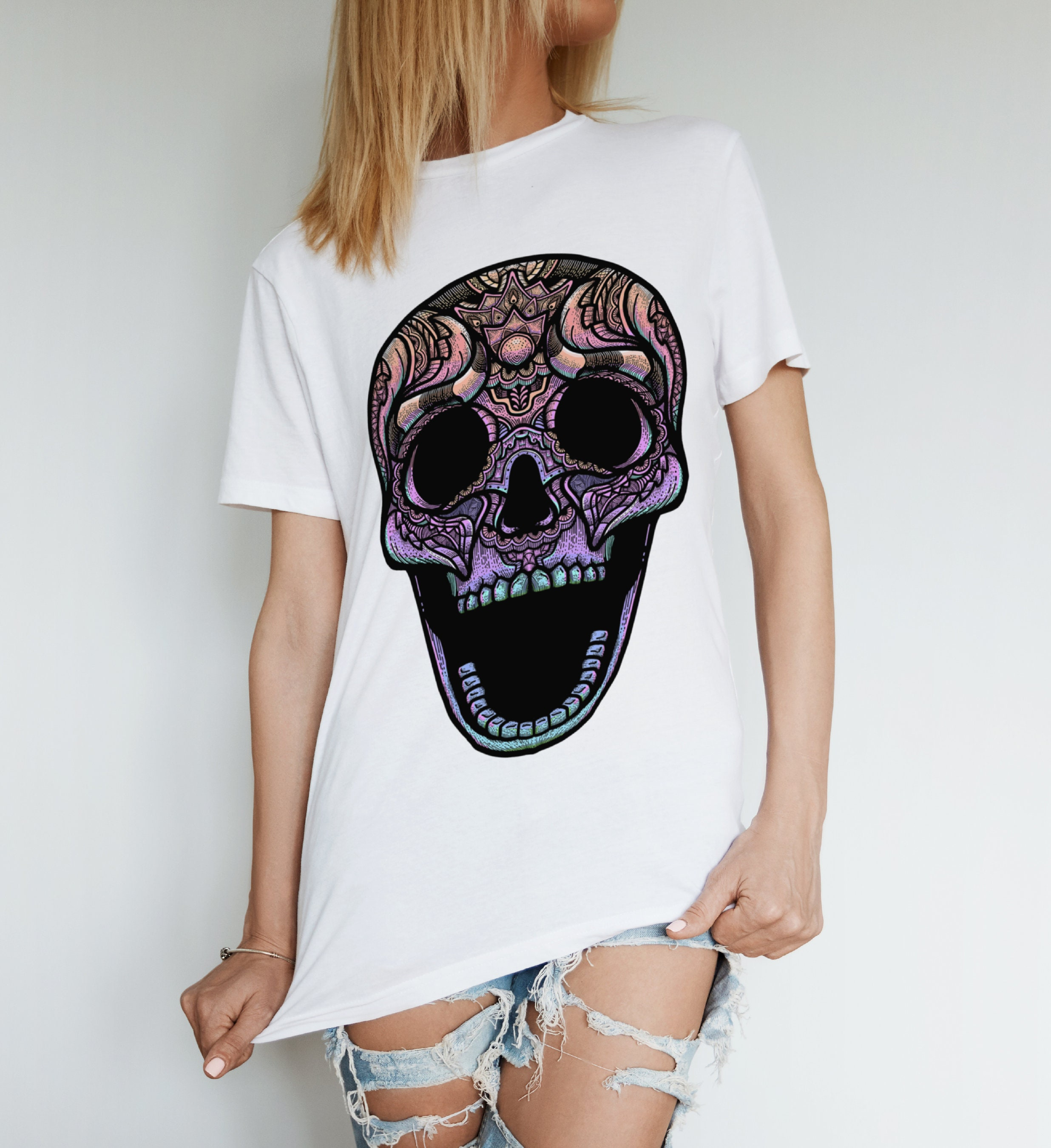 T Shirt Tete De Mort En Arc En Mort Ciel œuvre D Art T Shirt