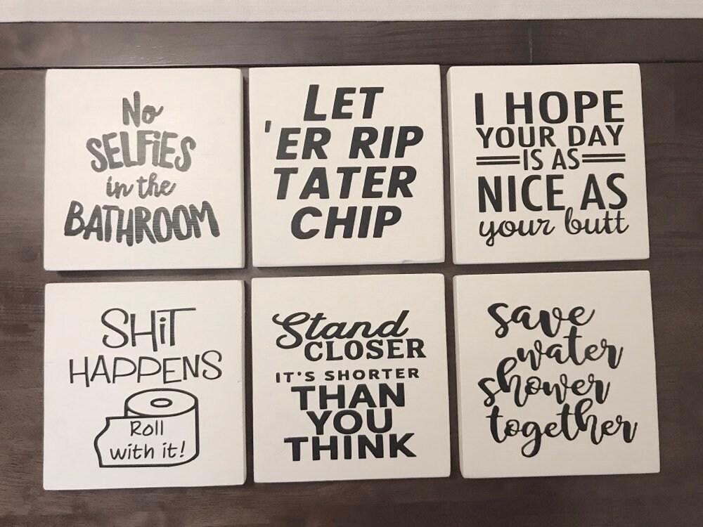 Funny Bathroom Signs , Restroom Decor, shit happens, let 'er rip, shower  together