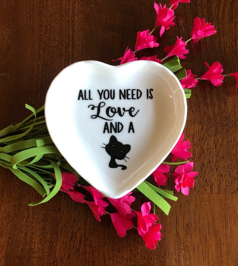 engagement ring dish Crazy Cat Lady Cat Lover Gift Trinket Tray All you need is love and a cat Cat Mom Gift Kitty Gift