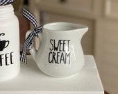 SWEET CREAM mini pitcher - Tiered Tray Decor Farmhouse Tiered Tray Decor Coffee Bar Decor