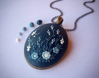 Polymer clay pendant etsy boho necklace boho pendant polymer clay pendant polymer clay necklace blue necklace floral pendant floral necklace clay filigree applique aloadofball Image collections