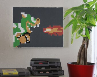 pixel painting of Bowser from Super Mario Bros