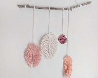 Woven Mobile/Yarn Wall Hanging/Feather Wall Art/Woven Wall Hanging/Yarn Feathers/Wall Art/Boho Chic Nursery/Nursery Decor/Woven Garland
